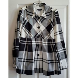 SANDRO SPORTSWEAR Black & White Plaid Jacket NWOT